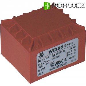 Transformátor do DPS Weiss Elektrotechnik EI 38, prim: 230 V, Sek: 9 V, 356 mA, 3,2 VA