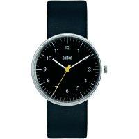 Ručičkové náramkové hodinky Braun Quartz, kožený pásek, černá