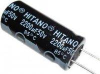 2200u/50V 85° 16x31x7,5mm, elektrolyt.kondenzátor radiální