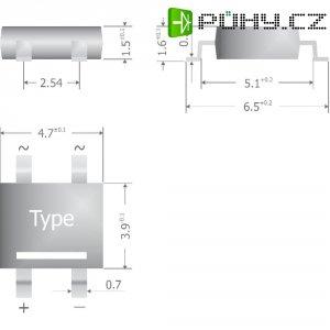 Křemíkový můstkový usměrňovač Diotec S250-SLIM, U(RRM) 80 V, 800 mA, TO-269