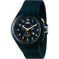 Ručičkové náramkové hodinky Braun Chronograph Quarz, silikon, černá