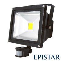 LED reflektor venkovní s PIR 30W/2500lm EPISTAR, MCOB, AC 230V, černý
