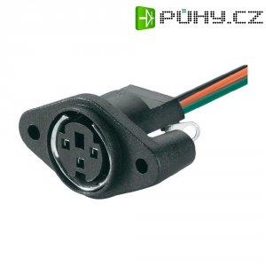 Mini DIN konektor BKL 0204025, zásuvka vestavná vertikální, 4pól., černá