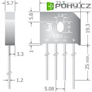 Křemíkový můstkový usměrňovač Diotec KBU6A, U(RRM) 50 V, 6 A, SIL