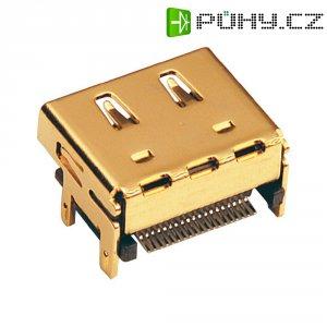 HDMI konektor BKL Electronic 907008, zásuvka vestavná vertikální, 19pól., zlatá