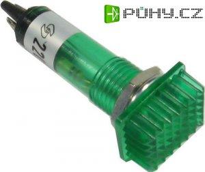 Kontrolka 230V s doutnavkou, zelená obdélníková do otvoru 9mm