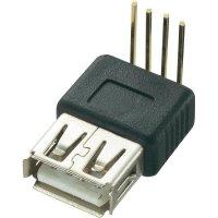 USB konektor s DPS montáží Typ A 90°, zásuvka zahnutá