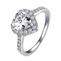 Prsten Srdíčko stříbrná barva 57mm