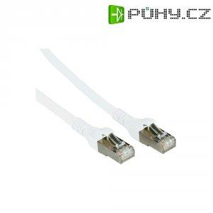 Patch kabel, CAT 6A S/FTP, RJ45, vidlice ⇔ vidlice, bílá, 2 m