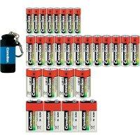 Sada baterií Camelion, 12x AA, 8x AAA, 4x C, 4x 9V, vč. svítilny
