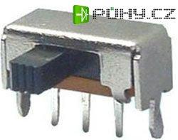 Přepínač posuvný ON-ON 1pólový, 50V/0,5A úhlový