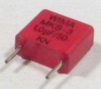 1u/100V WIMA, svitkový kondenzátor radiální, RM=7,5mm
