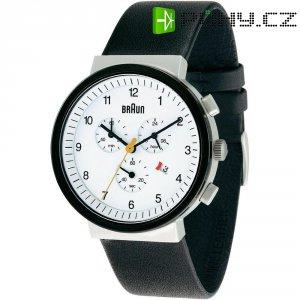 Ručičkové náramkové hodinky Braun Classic, 66544, kožený pásek, černá/bílá
