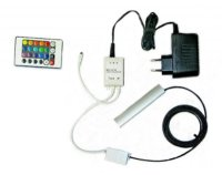 Klips LED na sklo RGB 1x 10 cm + adaptér + dálkové ovládání