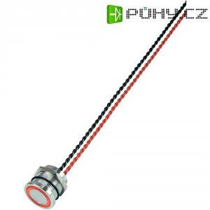 Piezo tlačítko, 24 V DC/AC, 0,2 A, IP 68, PS193P10Y01R24L, červená LED, ploché