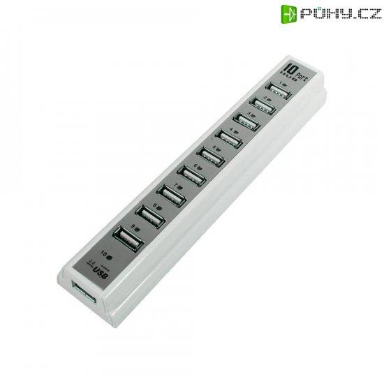 USB 2.0 hub LogiLink s adaptérem, 10-portový, bílý - Kliknutím na obrázek zavřete