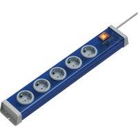 Zásuvková lišta s přepěťovou ochranou Ehmann, 5 zásuvek, modrá
