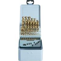 25-dílná sada spirálových vrtáku HSS-TIN DIN 338 RN