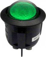 Kolébkový spínač s doutnavkou SCI R13-244B-02 B/G 220 V/AC, 2x vyp/zap, 250 V/AC, černá/zelená
