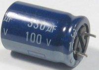 330u/100V 85° 16x25x7,5mm, elektrolyt.kondenzátor radiální