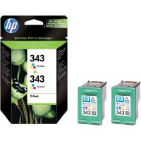Cartridge do tiskárny HP CB332EE (343), cyanová, magenta, žlutá, 2 ks