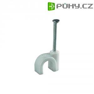 Hřebíkové příchytky Conrad Components 523530, 14 mm (max), bílá (matná), 100 ks