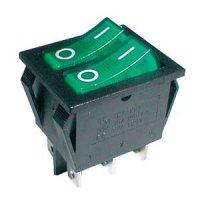 Přepínač kolébkový 2x(2pol./3pin) ON-OFF 250V/15A pros. zelený