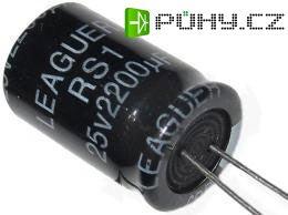 2200u/25V 85° 13x20x5mm, elektrolyt.kondenzátor radiální