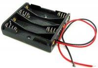 Držák baterie 4xR03/AAA/UM4 s vývody 15cm