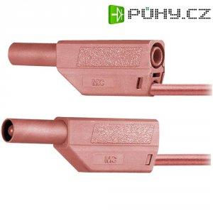Měřicí kabel banánek 4 mm ⇔ banánek 4 mm MultiContact SLK425-E, 0,25 m, zelená/žlutá