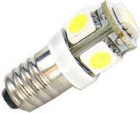 Žárovka LED E10 12V / 1W, bílá, 6xSMD5050