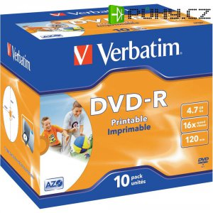 Verbatim DVD-R 4,7GB 16X 10 ks JC PRINT