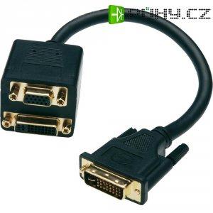 Splitter DVI vidlice ⇔ VGA zásuvka/DVI zásuvka, 0,2 m, černý, Digitus