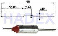Tepelná pojistka 117°C axiál. nevratná 10A/250V CE