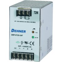 Napájecí zdroj na DIN lištu Dehner Elektronik DRP072D-24FTN, 3 A, 24 V/DC