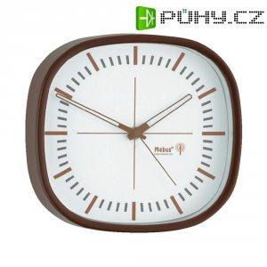 Analogové nástěnné DCF hodiny,22.5 cm, tmavě hnědá