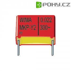 Odrušovací kondenzátor Y2 Wima MKPY2, 15 mm, 0,022 µF, 300 V/AC, 10 %, 18 x 7 x 14 mm