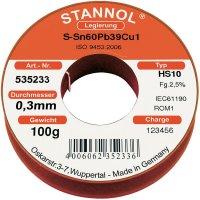 Cínová pájka, Sn60Pb39Cu1, Ø 0,3 mm, 100 g, Stannol HS10