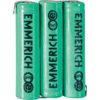 Akupack Ni-MH 3 AAA Emmerich 255052, 800 mAh, 3.6 V, pájecí kontakty