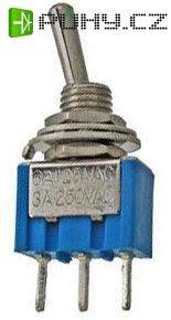 Přepínač páčkový ON-OFF-ON 1pol.250V/3A mini-otv.6 (P-KNX3)
