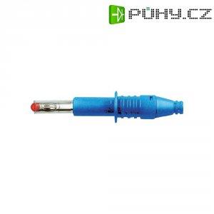 Lamelový konektor Ø 4 mm MultiContact 66.9584-23, zástrčka rovná, modrá