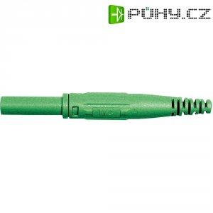 Laboratorní konektor Ø 4 mm MultiContact 66.9155-25, zásuvka rovná, zelená