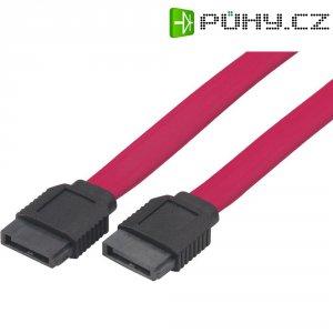 Propojovací kabel k HDD, SATA zásuvka ⇔ SATA zásuvka, červená, 0,5 m