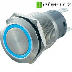 Tlačítko antivandal bez aretace TRU COMPONENTS LAS1-AGQ-22E, BL, 250 V/AC, 5 A, nerezová ocel, 2x zap/(zap), modrá