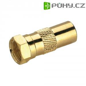 Adaptér BKL Electronic, 0403369, F konektor ⇔ anténní zástrčka, 75 Ω, pozlacený