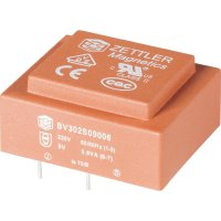 Transformátor do DPS Zettler Magnetics El30, 230 V/2x 6 V, 2x 50 mA, 0,6 VA