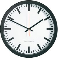 Nádražní DCF nástěnné hodiny 56862, vnější Ø 40 cm, černá