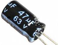47u/63V 105° 8x11x3,5mm, elektrolyt.kondenzátor radiální