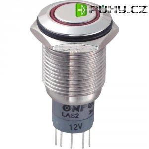 Tlačítkový spínač antivandal s aretací TRU COMPONENTS LAS2GQF-11ZE/R/12V/S/P, 250 V/AC, 3 A, nerezová ocel, 1x zap/zap, červená