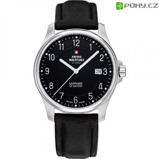 162f592ea Ručičkové náramkové hodinky Swiss Military, 20076ST-9L, pánské, kožený pásek,  černá/stříbrná